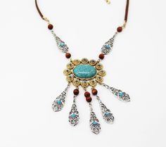 Macy's - Silver and Gold Tone Brown Cord Turquoise Pendant Fashion Necklace #Macys #Pendant