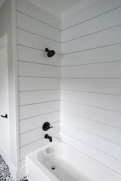 Shiplap Look-Alike Shower How-To — Farm Chic Design Master Bathroom Shower, Shiplap Bathroom, Bathtub Shower, Small Bathroom, Bathroom Ideas, Basement Bathroom, Bathroom Remodelling, Rustic Bathrooms, Dream Bathrooms
