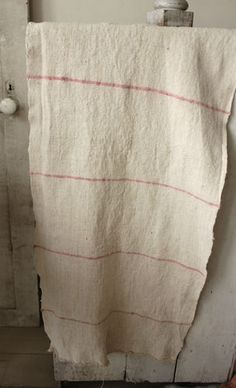 Old linen ~ RARE pink stripes! Lovely homespun fabric from Europe ~ www.textiletrunk.com