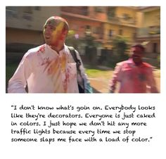 Karl Pilkington covered in paint in India