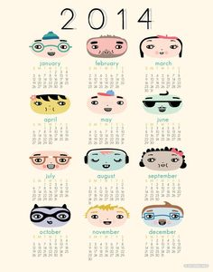 2014 Calendar by Hillary Bird on Little Paper Planes $24