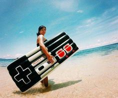 On the beach with an NES Raft