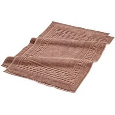 """Add spa-worthy style to your master bath with this Egyptian cotton mat, showcasing a Greek key border and mocha hue.    Product: Set of 2 bath mats     Construction Material:  100% Egyptian cotton Color: Mocha   Features: Greek key boarderExtremely soft and absorbent 900 GSMOne-ply terrycloth  Pile height:1""""  Dimensions: 22"""" x 35""""  Note: No backing    Cleaning and Care: Machine washable"""