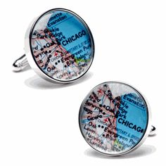 Chicago Map Cufflinks - Round Cufflinks from Cufflinskman
