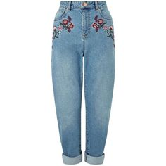 Miss Selfridge Embroidered MOM Jeans ($90) ❤ liked on Polyvore featuring jeans, mid wash denim, embroidery jeans, miss selfridge, denim jeans, embroidered jeans and blue denim jeans