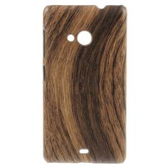 Javu - Microsoft Lumia 535 Hoesje - Back Case Hard Houtprint Donker | Shop4Hoesjes