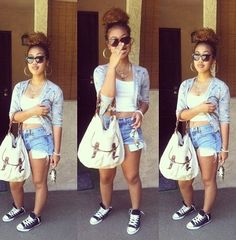 cardigan black girls killin it mixed chicks shorts top outfit cute girly bun messy bun bag india westbrooks style style converse shirt pockets shown short shorts glasses earrings jewels necklace keys denim shorts Dope Fashion, Fashion Killa, Urban Fashion, Teen Fashion, Style Converse, Converse Shirt, Oufits Casual, Pretty Girl Swag, Celebrity Look