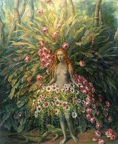 ⊰ Posing with Posies ⊱ paintings of women and flowers - Julie Heffernan