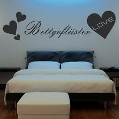 Dekorieren Sie Ihre Wände mit dem Wandtattoo Bettgeflüster Herz Qualitätsfolie - 53 Farben - Top Preise - Schnell & Sicher