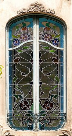 Art Nouveau Stained Glass Window, Barcelona