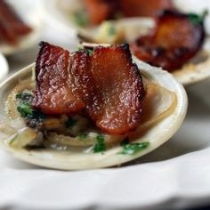 """Bacon baked clams with garlic and parsley."" --- Hmmm...something to try, I think."