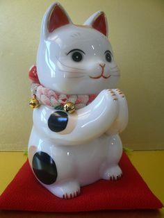 "Japanese ""Wish"" Seto Beckoning Maneki Neko porcelain Cat"