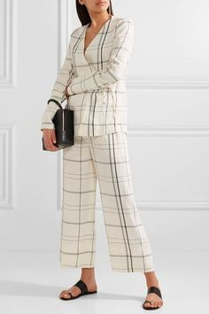 Protagonist - Checked Twill Wide-leg Pants - Ivory - x small