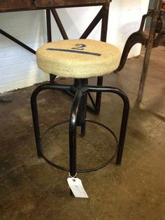 Industrial Stool with Burlap Seat