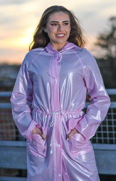 Pink Raincoat, Plastic Raincoat, Festival Raincoat, Rain Bonnet, Pink Plastic, Raincoats For Women, Rain Wear, Drawstring Waist