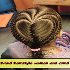 Braid hairstyle woman and child