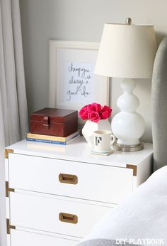 accessories add instant glam to this nightstand! Dresser As Nightstand, Dressers, Diy Living Room Decor, Bedroom Decor, Home Decor, Bedroom Inspo, Bedroom Ideas, Home Bedroom, Houses