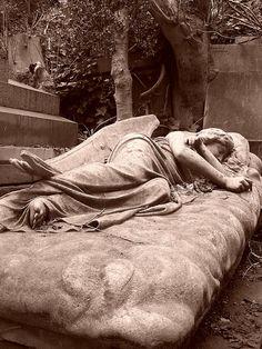 sleeping angel, Highgate Cemetery, London