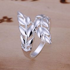 Korean Style Womens Girl 925Sterling Silver Double Leaf Ring Size 8 Jewelry A451