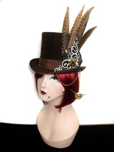 steampunk hats | Evelyn Ellenor Mad Hattery Steampunk Topper Brown Top Hat