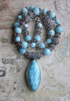 Where Dolphins Sing -- Larimar and Sterling bali Necklace genuine natural