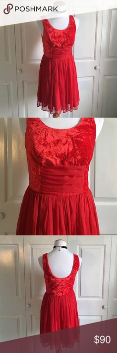 "FREE PEOPLE Scarlet Red Ballerina Dress Absolutely gorgeous bright red dress from FREE PEOPLE. Size 2/XS. Zipper side. Velvet top, and flowy and soft bottom. Hits above the knees. 32"" bust. 32.5"" long. Brand new without tags! Free People Dresses"