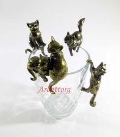 Bronze Brass Figurine Statuette Russian Five Cats Sitting ON Glass 173   eBay