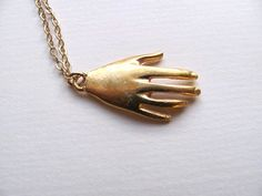 Gold hand pendant necklace, 18k gold plated hand charm on 14k gold plate chain