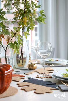 Fall Colorblock Cork Table Decor