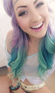 Purple to green ombre hair!
