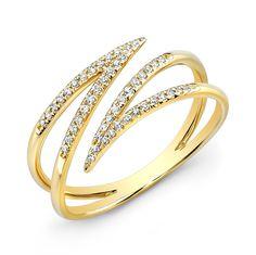 14KT Yellow Gold Diamond Spike Wrap Ring