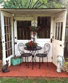 Great idea for using four old doors to create a nook in the backyard! - Great idea for using four old doors to create a nook in the backyard! Great idea for using four old doors to create a nook in the backyard! Outdoor Rooms, Outdoor Gardens, Outdoor Living, Outdoor Decor, Outdoor Patios, Outdoor Sitting Areas, Outdoor Retreat, Outdoor Sheds, Rustic Gardens