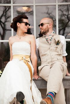 cool sunglasses bride and groom