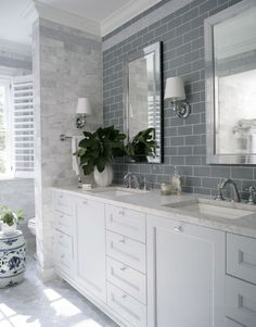 *Likes blue tile *Cabinet front style *Soft silver-blues-whites