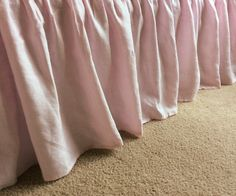 New to CustomLinensHandmade on Etsy: Pink bed skirt in natural linen pink bed ruffles pink bedding shabby chic bedding Romantic (157.00 USD)