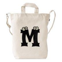 Custom Letter M Initial Monogram Funny Duck Bag Duck Canvas Bag