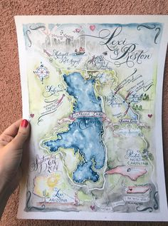 ❤︎ A custom made wedding map will be the darling of all your wedding stationery! Map Wedding Invitation, Rehearsal Dinner Invitations, Wedding Rehearsal, Bridal Shower Invitations, Wedding Stationery, Invitation Ideas, Watercolor And Ink, Watercolor Journal, Cards