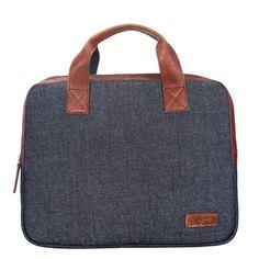Buy #Leather & Denim Combination Laptop Bag Tan  / Blue by #Brune @ voganow.com for Rs.1,699.15/-