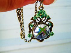 Xbox 360 button chrome slim crystal necklace by SuperfastSpider, $20.99