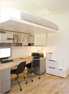 Cool Desk Design for small space. Browse even more home decor examples for cramped office spaces at my web site. Cool Desk Design for small space. Cool Loft Beds, Bunk Beds With Stairs, Lofted Beds, Bed Stairs, Bunk Bed With Desk, Small Rooms, Small Apartments, Small Spaces, Kids Rooms
