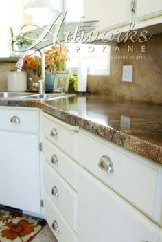Annie Sloan on kitchen cabinets!   Wow!