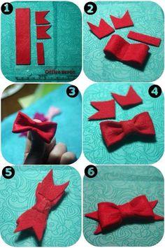 No-sew felt bow tutorial by Juca Diy Baby Headbands, Diy Headband, Baby Bows, Felt Crafts, Fabric Crafts, Diy Crafts, Do It Yourself Inspiration, Diy Tops, Felt Bows