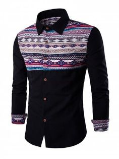 10c2118c0 Ethnic Geometric Print Long Sleeve Shirt. Blazer PatternThe Office ShirtsMen  ShirtCheap ...
