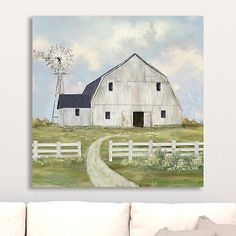 Escape the chaos every time you look at our Farm View Giclee Canvas Art Print! This beautiful print is the perfect way to add a small touch of country charm. Farmhouse Paintings, Farm Paintings, Country Paintings, Watercolor Barns, Watercolor Paintings, Watercolours, Painting Art, Canvas Art Prints, Wall Canvas