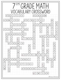 This 7th Grade Match Vocabulary Crossword Activity Would Be The Perfect Back To School Test