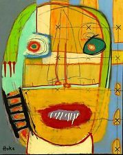 CHECKERED DEMON Hoke Outsider Painting on Wood RAW Abstract Art Brut NAIVE