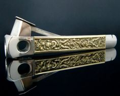 Mid Century German Smokers Articles  Original Donatus (Solingen) cigar cutter. Decorated with delicate angels pattern created by Erhard and Söhne