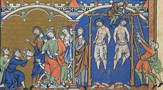 Amazing illuminations from the Maciejowski Bible: this scene follows the previous pin showing the two assassins of Ishbosheth presenting the head to King David. David in turn has them dismembered and hanged.
