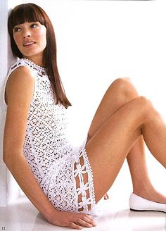 Lovely White Dress free crochet graph pattern