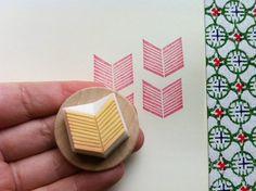 geometric hand carved stamp  handmade chevron by talktothesun, $7.00